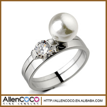 Allencoco Fashion New Style Unique Design Fractionable Diamond With Pearl Two in one Cluster Rings