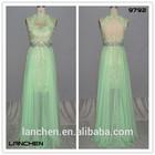 9794 Hotsale Sexy Lace Applicated Chiffon Fashion Dress 2014