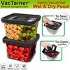 VacTainer vacuum sealed plastic storage container with lid