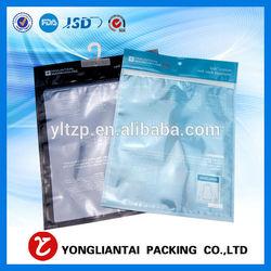 transparent waterproof ziplock bag for clothing packaging with handle