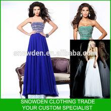 Fashion Style Sleeveless Strapless Floor Length Beaded Long Dress Party