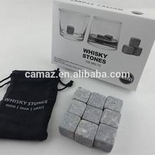 Hot sale whisky rock stone ice cube 9 pcs/set with delicate box + velvet bag whiskey stone cube