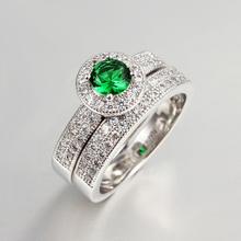 wholesale new oro bianco anelli di lanterna verde