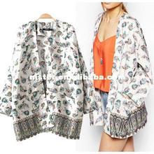 2014 new fashion European style fashion big pocket national wind printing cape long jacket women cardigan kimono43