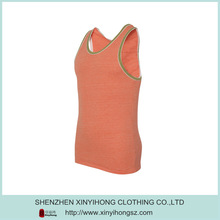 Orange Color Contrast Binding Combed Cotton Spandex Stringer Tank Top Men