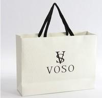 luxury creamy white ,ecru white ,beige printed paper shopping bag