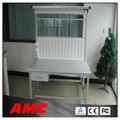 Awb536 bancada aço/mesa de trabalho com painel perfurado e gavetas