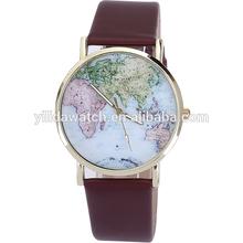 Hotsale multi color band world map print watch