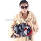 Real animal skin bag with silver fox fur
