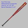 Single piece design full Composite baseball bat Fast pitch carbon fiber Softball bat
