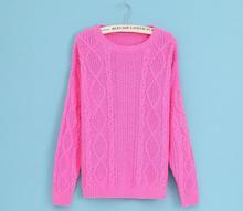 2014 new winter fashion wild European and American minimalist Slim models bottoming twist diamond women knit sweater 107