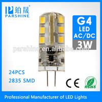 360 Degree lighting smd3014 G4 led lamps AC/DC 12v 3W Led RV Bulb Light