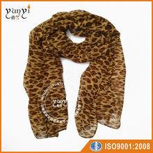 Leopard print chiffon scarf shawl which can wear as hijab