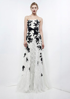 Zuhair murad black and white lace evening dress