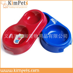high quality plastic double pet bowl red/blue