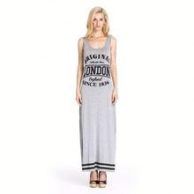 Casual Style Scoop Neck London Letter Print Cotton/Polyester Vest Long Dress