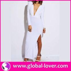 Top quality 100 women plain white cotton maxi dress
