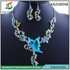 Butterfly jewelry set Crystal bridal beautiful statement necklace