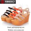 2014 New design wedge sandals women's latest sandals designs summer shoes metallic PU upper shoes roman women sandals sexy
