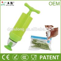 Plastic vacuum storage bag with manual air pump for food storage