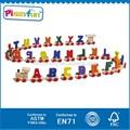Lettre en bois train 2015 jouets en bois, de haute qualité en bois alphabet train, enfants jouets en bois alphabet train jouets at11430