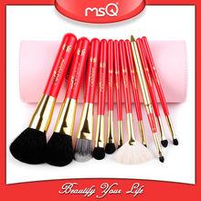 MSQ 11pcs Pink Black White Cylinder Case Essential Make Up Brushes