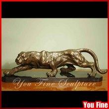 Large Bronze Creeping Panther Statue Of Metal Animal