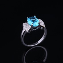 2015 new design ladies finger ring,value 925 silver ring,Blue Cubic zircon stone ring