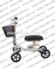 """8"""" wheels foldable Knee Walker / Comfort PU Knee Pad Steering knee scooter with Basket"""
