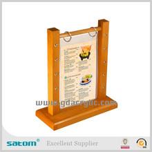 2015 New design flip menu stand with pen holder wood