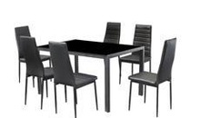 heavy-duty glass and chrome high back leather dining table and chair