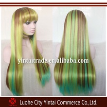 Free Shipping 100cm long Rainbow straight multi color cosplay wig, heavy density kanekalon cosplay wigs