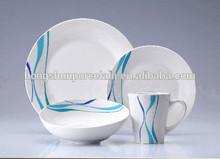 16pcs blue dot porcelain dinner set , blue white chinese porcelain