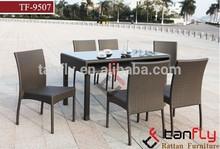 Jardim 7- peça terraço tecido marrom jantar pátio set