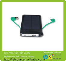 China manufacturer double output built-in cable solar battery charger,solar cell for mobile phone for smartphone,iphone,ipad