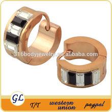 Korea jewelry rose gold plated earrings stainless steel jhumke earring jewellery