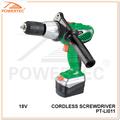 Powertec 18v bateria li-ion 10mm cordless screw driver, carregamento mini chave de fenda