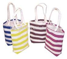 Natural strip cotton/canvas tote bag