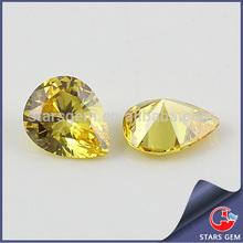 Pear shape golden color semi precious cubic zirconia