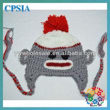 Funny Monkey Beanie for Babies Fashion Crochet Knit Wool Cap Ear baby Hat