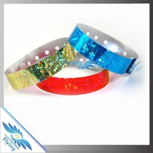 New Arrival Holographic Beautiful PVC Vinyl Wristband with custom design for events