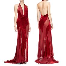 Wholesale china factory fashion latest backless chiffon red ruffle sexy nighty dress picture