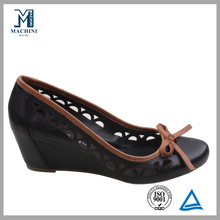 Spring black bow decoration wedge women shoes heels