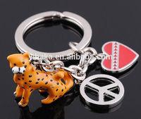 Animal lover keychain pet series leopard keychain enamel cheetah keychain