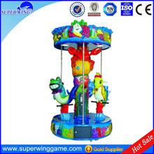 Most popular fiberglass 3 seats mini mechanical carousel horse ride