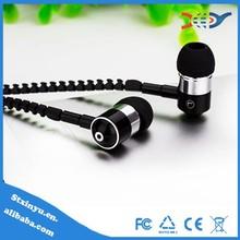 New products in-ear metal zip zipper earphones free sample