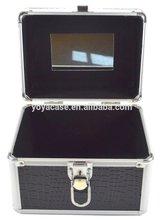 Silver and Imitation Crocodile Black beauty case, vanity case, jewelry case
