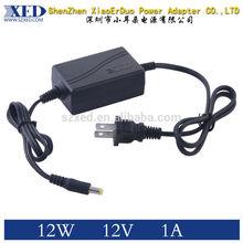 UL FCC CE ROHS 12V 1A Power Adapter 12W for LED CCTV Camera 12V Power Adapter