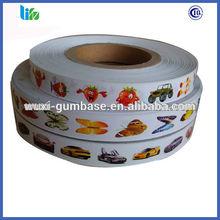 Hot selling food grade bubble gum BOPP+paper sticker gum paper sticker