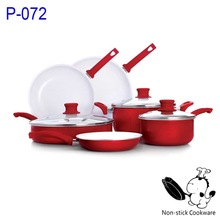 Stamped red frying pan and pot 9 pcs white ceramic induction base cook ware set with soft touch